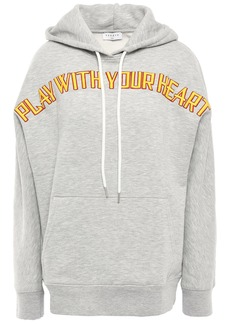 Sandro Woman Embroidered Cotton-blend Fleece Hoodie Gray