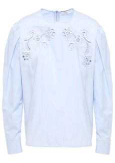 Sandro Woman Embroidered Cotton-poplin Blouse Light Blue