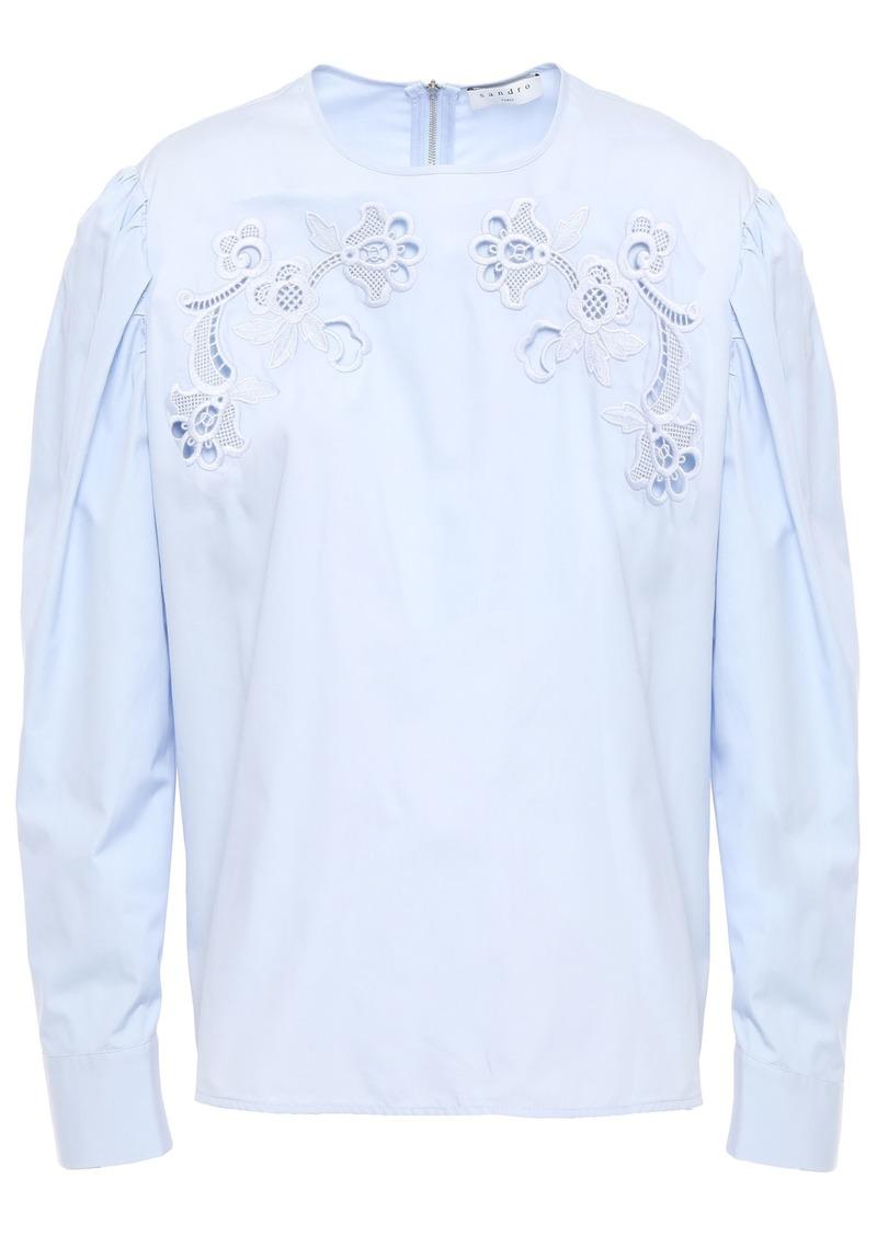 Sandro Woman Embroidered Cotton-poplin Blouse Light Blue