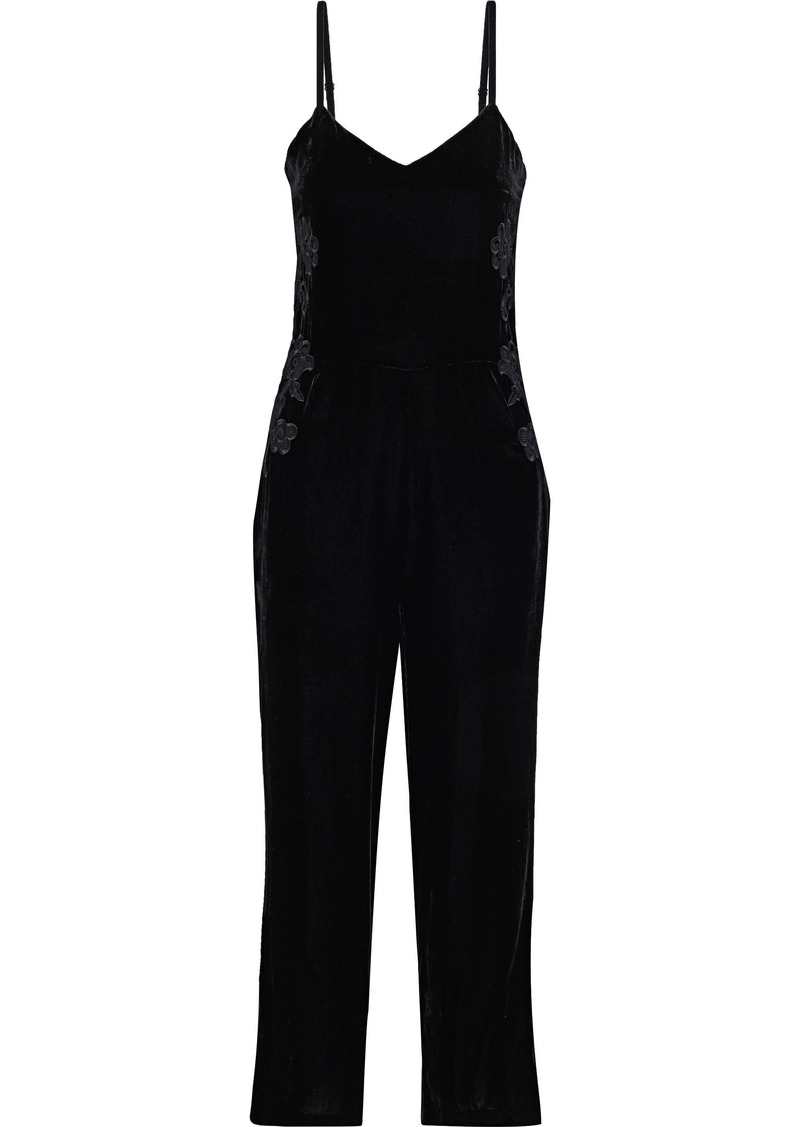 Sandro Woman Emilia Embroidered Velvet Jumpsuit Black
