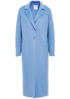 Sandro Woman Emilie Brushed Wool-blend Felt Coat Light Blue