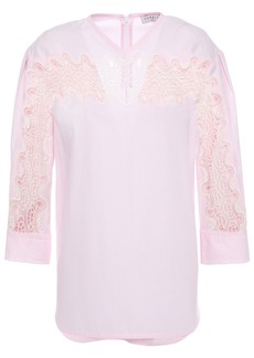 Sandro Woman Erica Guipure Lace-paneled Pinstriped Cotton-poplin Top Baby Pink