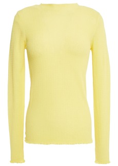 Sandro Woman Ethan Ruffle-trimmed Cotton-blend Sweater Pastel Yellow