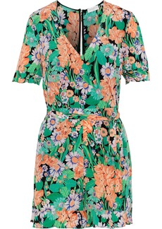 Sandro Woman Eudelin Belted Floral-print Silk Crepe De Chine Playsuit Green