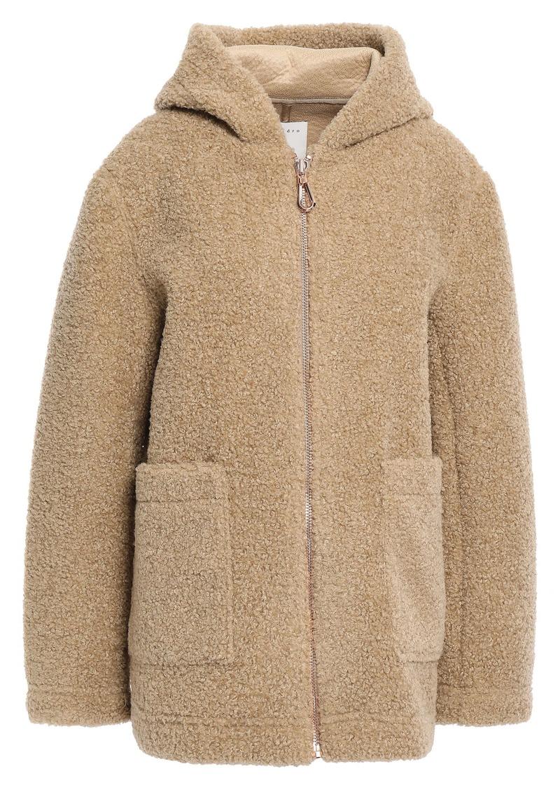 Sandro Woman Faux Shearling Hooded Coat Beige