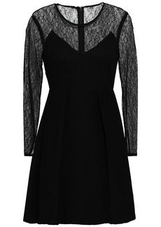 Sandro Woman Flared Pleated Lace And Plissé-woven Mini Dress Black