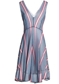 Sandro Woman Flared Striped Crocheted Dress Light Blue
