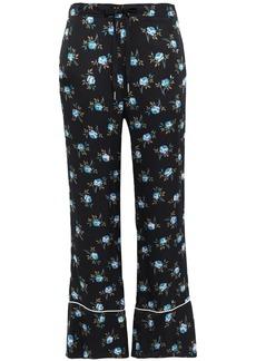 Sandro Woman Floral-print Satin Flared Pants Black