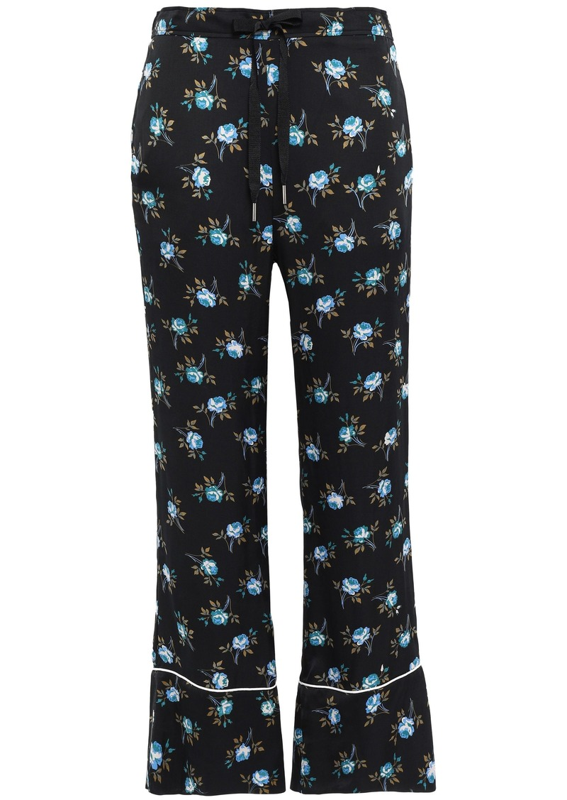 Sandro Woman Floral-print Satin Flared Pants Black