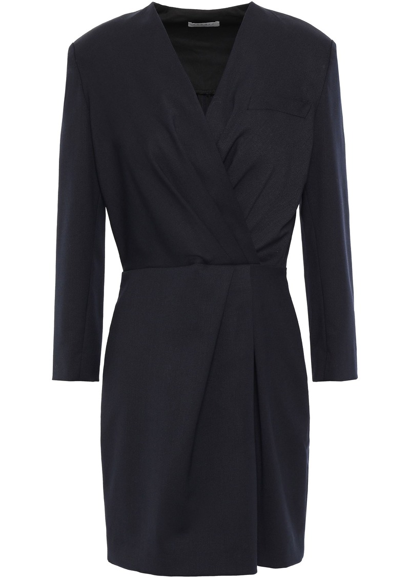 Sandro Woman Gattinara Wrap-effect Twill Mini Dress Midnight Blue