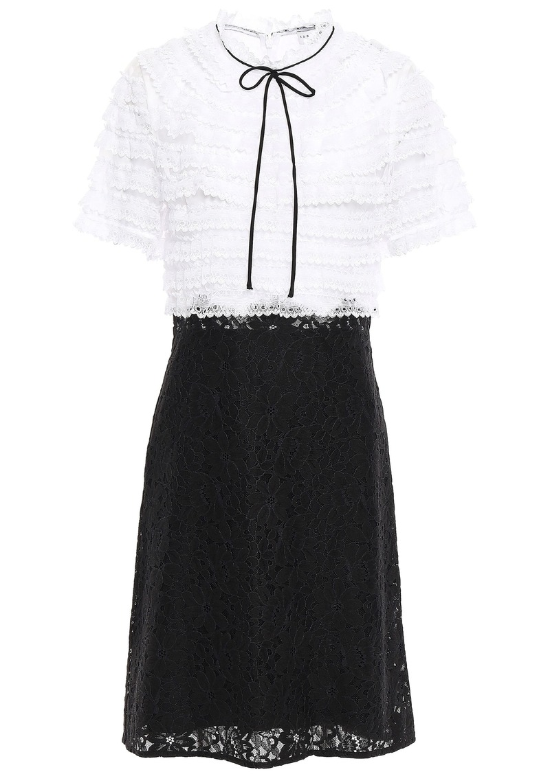 Sandro Woman Helsinki Bow-detailed Appliquéd Organza And Lace Dress Black