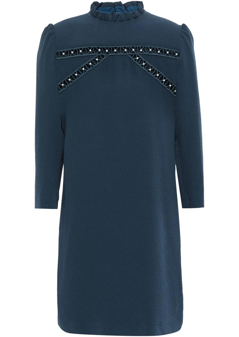 Sandro Woman Hugo Faux Pearl-embellished Cloqué Mini Dress Storm Blue