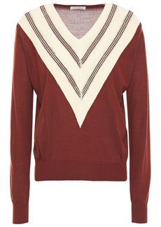 Sandro Woman Jone Open Knit-trimmed Wool-blend Sweater Brown
