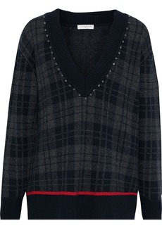 Sandro Woman José Crystal-embellished Checked Knitted Sweater Navy