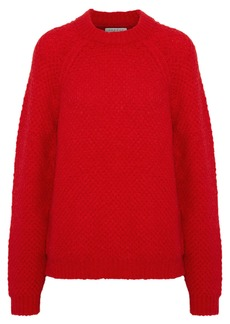 Sandro Woman Judie Brushed Bouclé-knit Mohair-blend Sweater Red