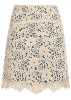 Sandro Woman Lace Mini Skirt Beige