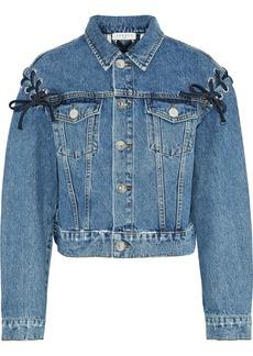 Sandro Woman Lace-up Faded Denim Jacket Light Denim