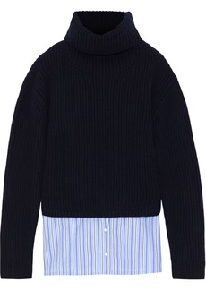 Sandro Woman Layered Striped Poplin And Ribbed Wool-blend Turtleneck Sweater Navy