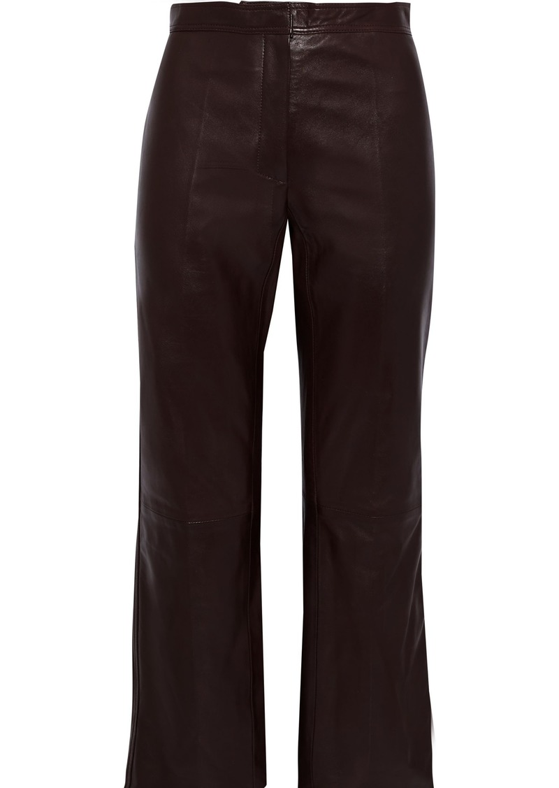 Sandro Woman Leather Kick-flare Pants Chocolate