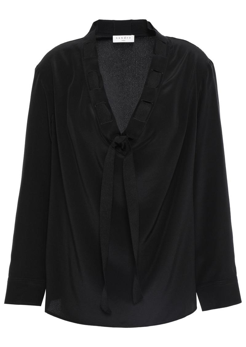 Sandro Woman Leo Tie-neck Silk Crepe De Chine Blouse Black