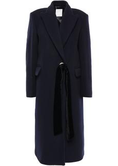 Sandro Woman Velvet-trimmed Wool-blend Felt Coat Navy