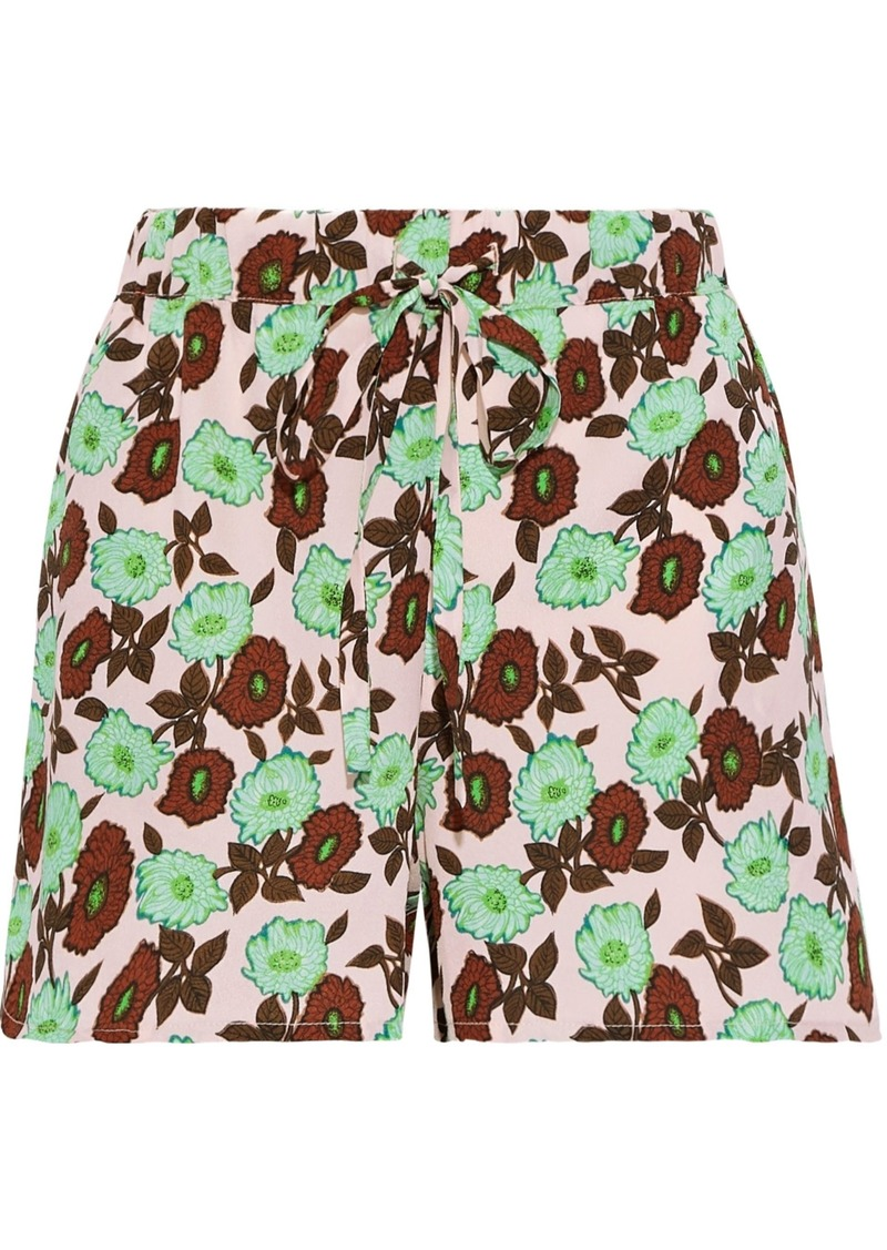 Sandro Woman Luciano Floral-print Crepe Shorts Baby Pink