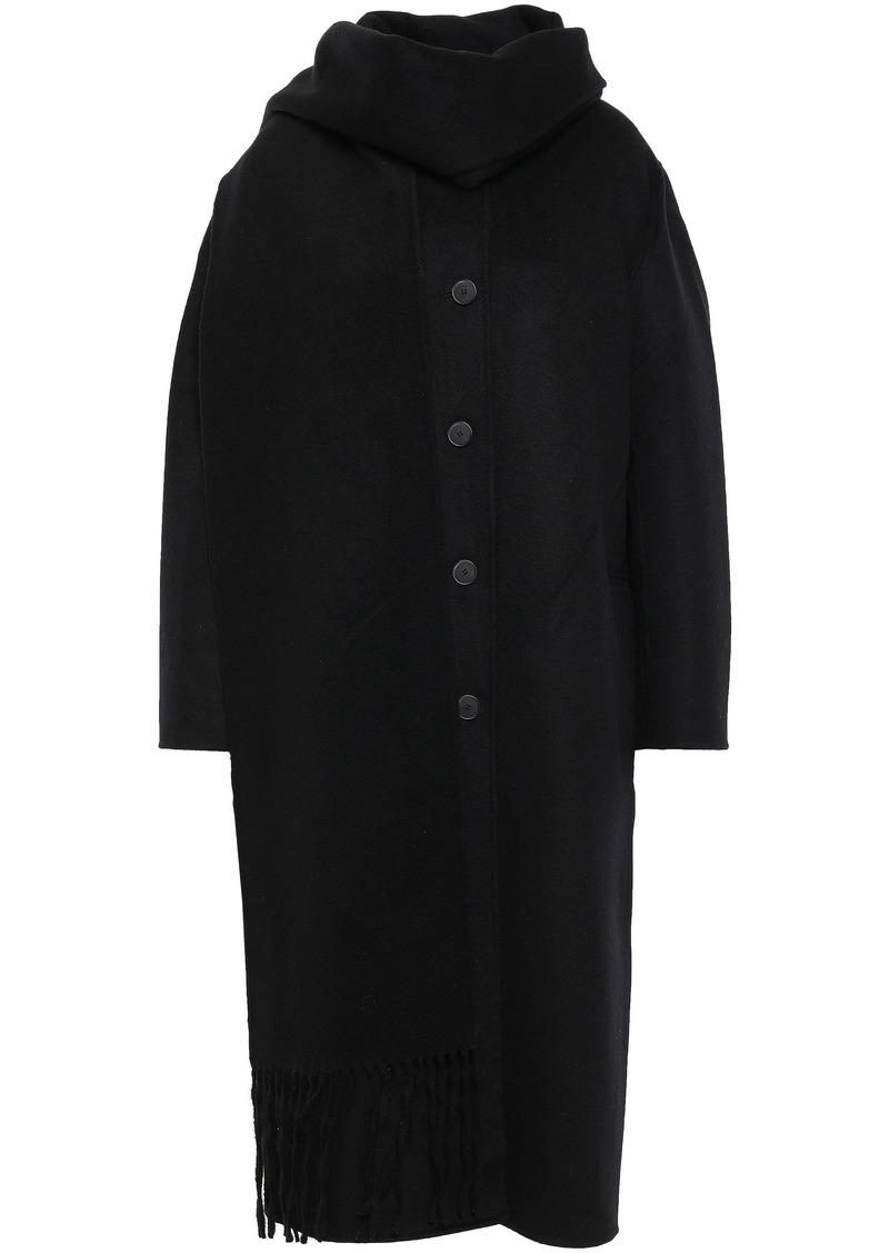 Sandro Woman Maria Tie-neck Wool And Cotton-blend Felt Coat Black
