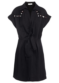 Sandro Woman Mavel Knotted Embellished Twill Mini Dress Black