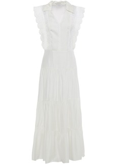 Sandro Woman Maxime Gathered Broderie Anglaise-trimmed Sateen Midi Dress White