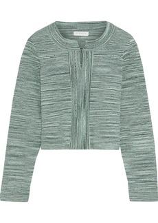 Sandro Woman Mélange Pointelle-knit Cardigan Grey Green