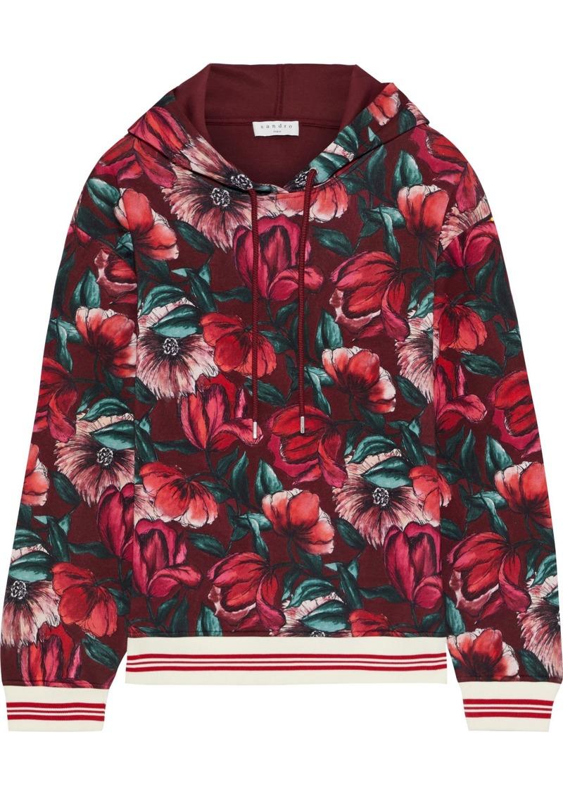 Sandro Woman Moise Floral-print Jersey Hoodie Burgundy