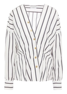 Sandro Woman Naelle Snap-detailed Striped Cotton-poplin Shirt White