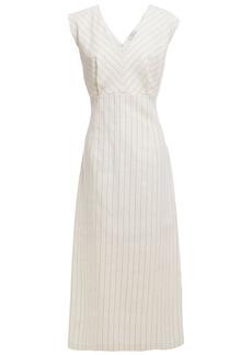 Sandro Woman Noaim Pinstriped Cotton-blend Twill Midi Dress Ivory