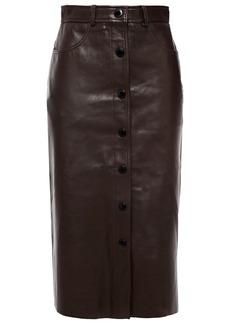 Sandro Woman Nooda Leather Pencil Skirt Chocolate