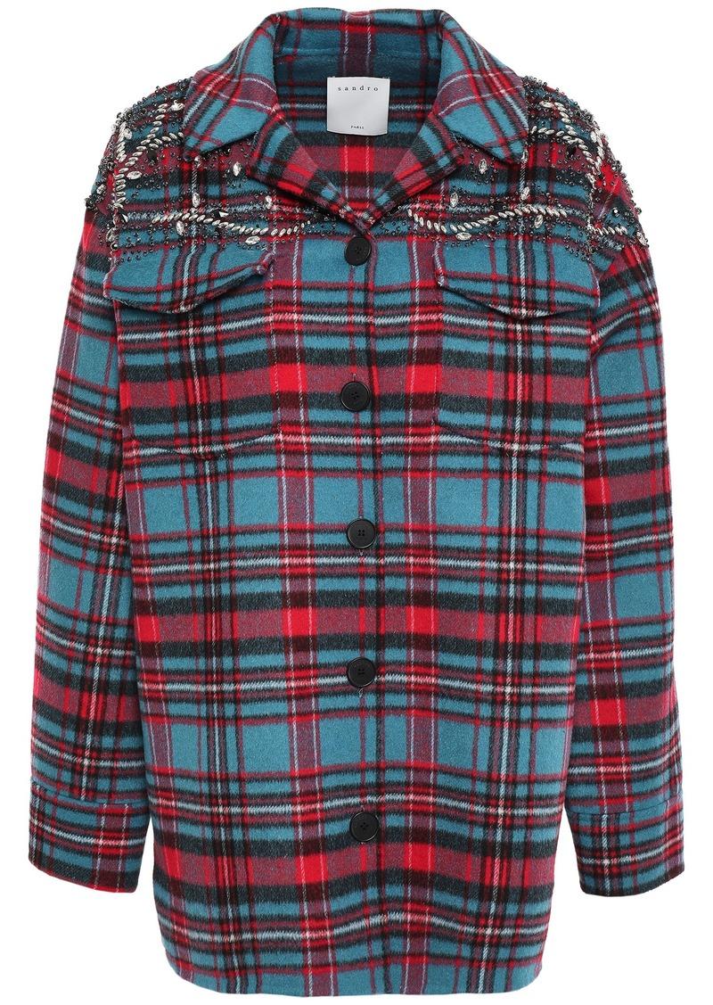 Sandro Woman Omar Crystal-embellished Checked Wool-blend Fleece Jacket Azure