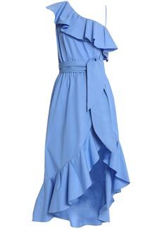 Sandro Woman One-shoulder Ruffled Cotton-poplin Midi Dress Azure