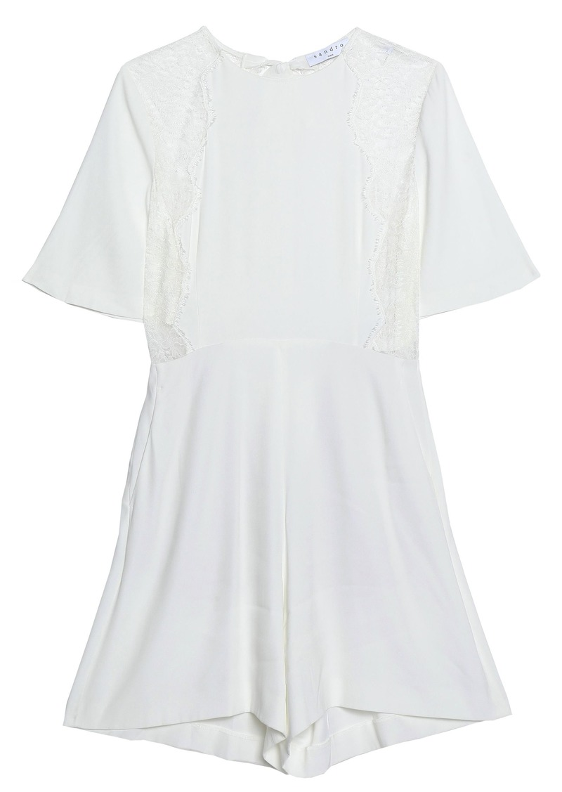 Sandro Woman Open-back Lace-trimmed Crepe-satin Playsuit White