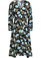 Sandro Woman Fraternite Crystal-embellished Floral-print Crepe Dress Black