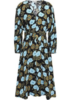 Sandro Woman Fraternite Crystal-embellished Floral-print Crepe Dress Black