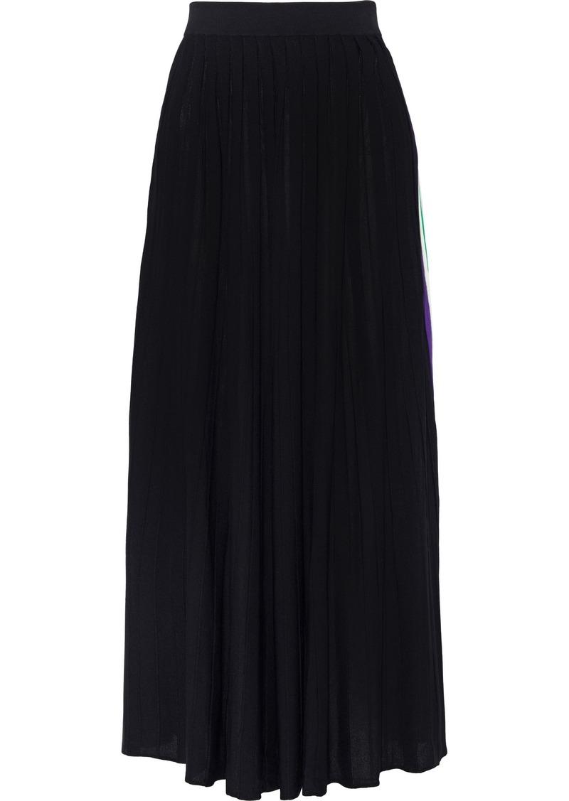 Sandro Woman Pleated Stretch-knit Maxi Skirt Black