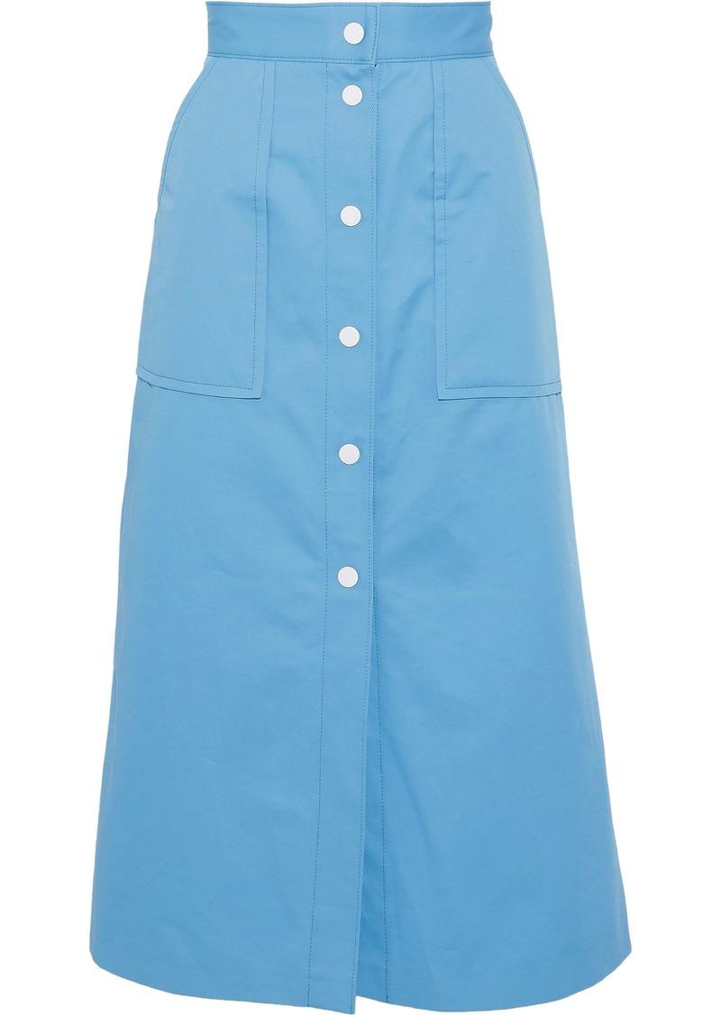 Sandro Woman Plume Cotton-twill Midi Skirt Light Blue