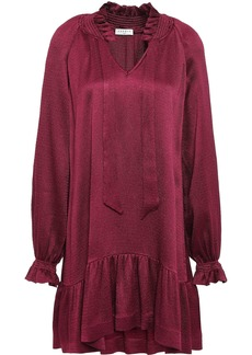 Sandro Woman Butterfly Tie-neck Ruffled Hammered-satin Mini Dress Claret