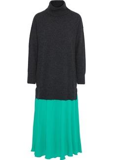 Sandro Woman Érardie Crepe De Chine-paneled Wool And Cashmere-blend Midi Dress Dark Gray