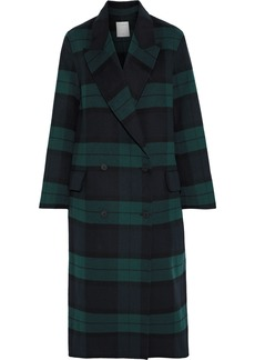 Sandro Woman Rescue Double-breasted Checked Wool And Cotton-blend Coat Forest Green
