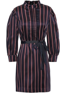 Sandro Woman Respect Belted Striped Satin-twill Mini Dress Navy