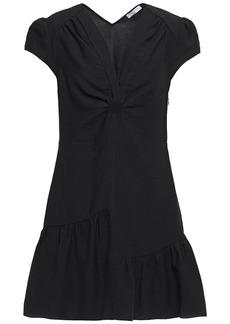 Sandro Woman Ronald Cutout Gathered Twill Mini Dress Black
