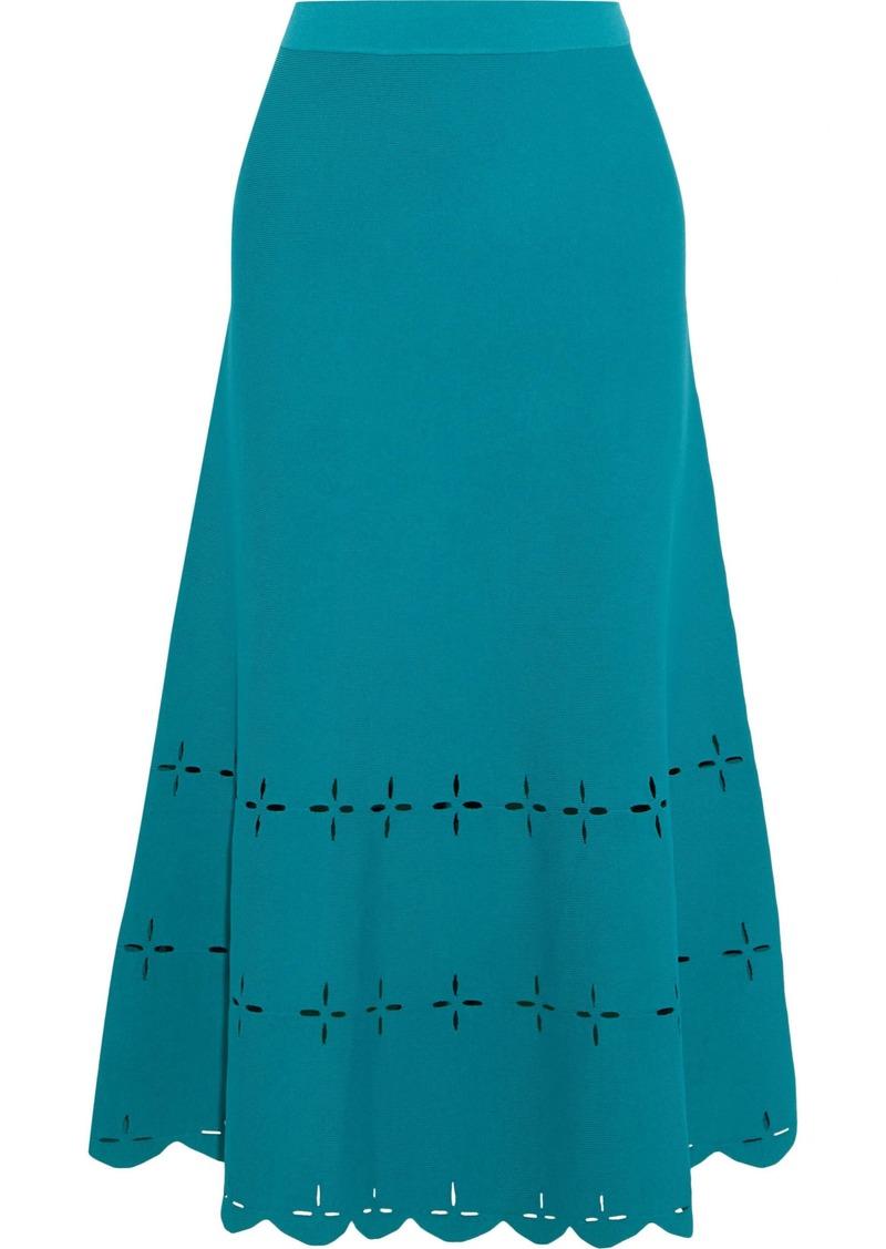 Sandro Woman Rosy Laser-cut Ponte Midi Skirt Teal
