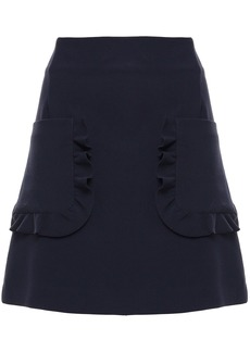 Sandro Woman Ruffle-trimmed Cady Mini Skirt Navy