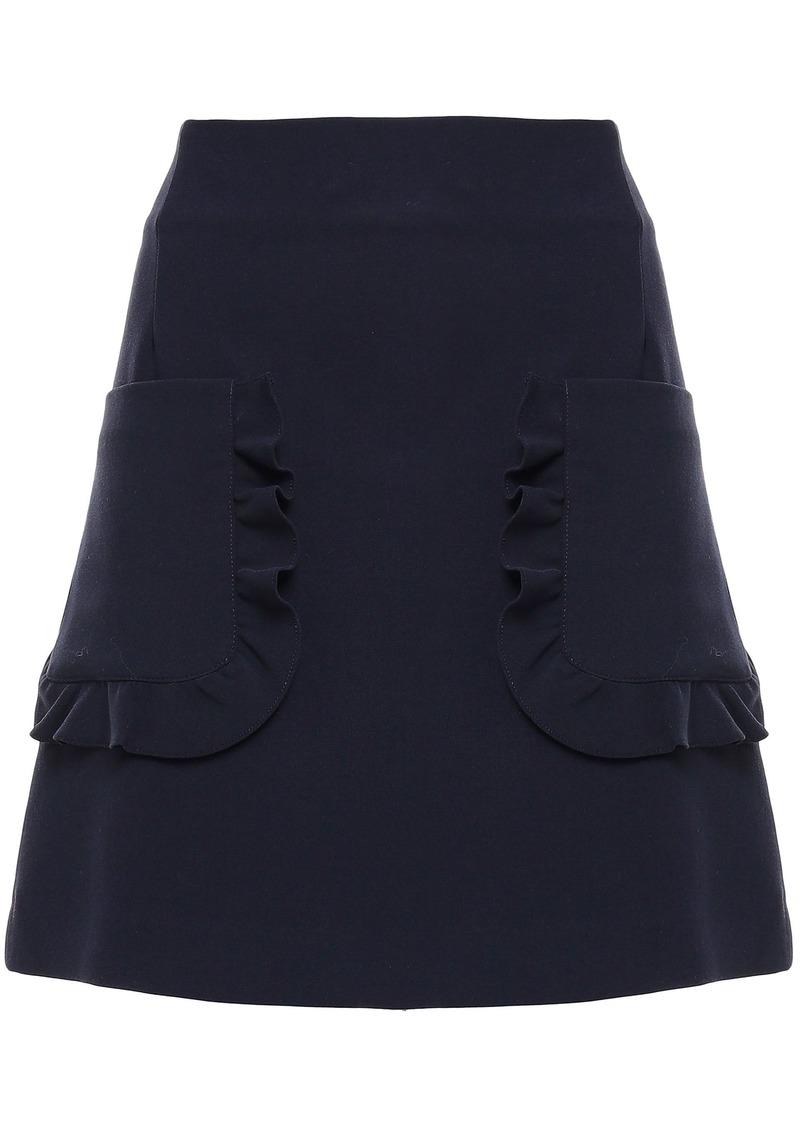 Sandro Woman Ruffle-trimmed Cady Mini Skirt Navy