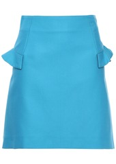 Sandro Woman Oro Ruffle-trimmed Cotton-blend Cady Mini Skirt Light Blue
